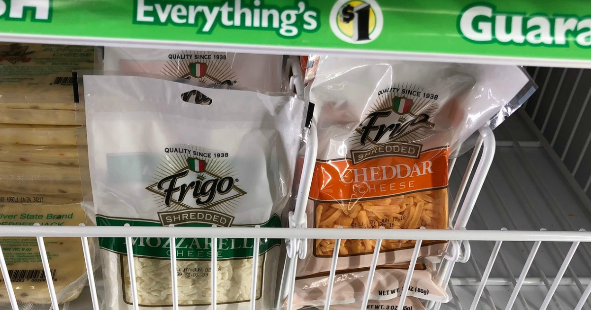 bags of Frigo Shredded cheese in refrigerated display case at Dollar Tree