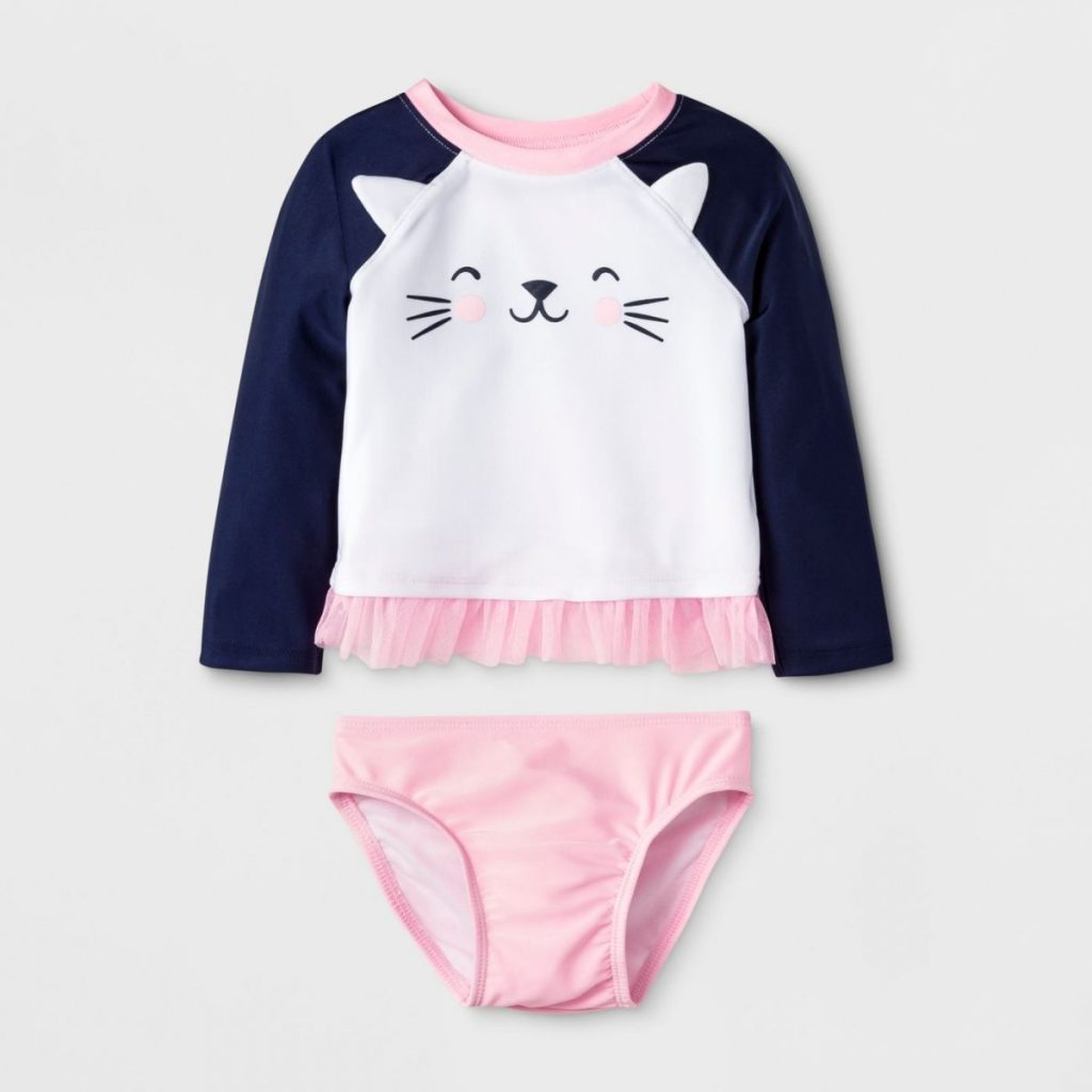 Cat & Jack Target Girls Kitty Rash Guard Set