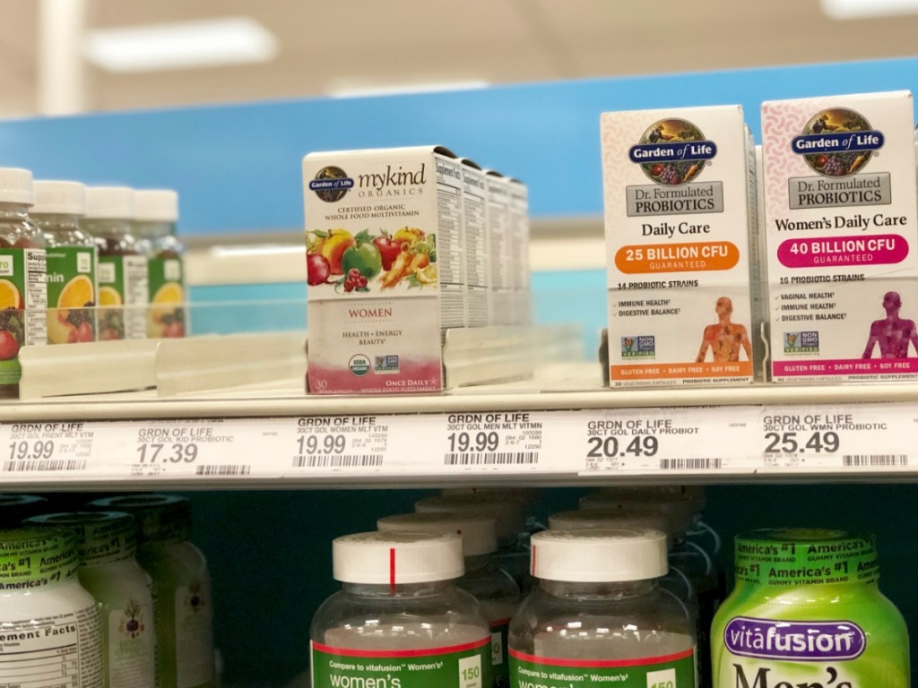 mykind organics vitamins on store shelf