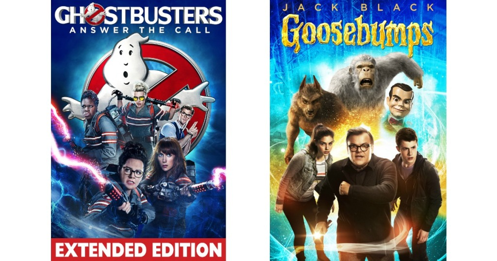 Ghostbusters and Goosebumps movie covers