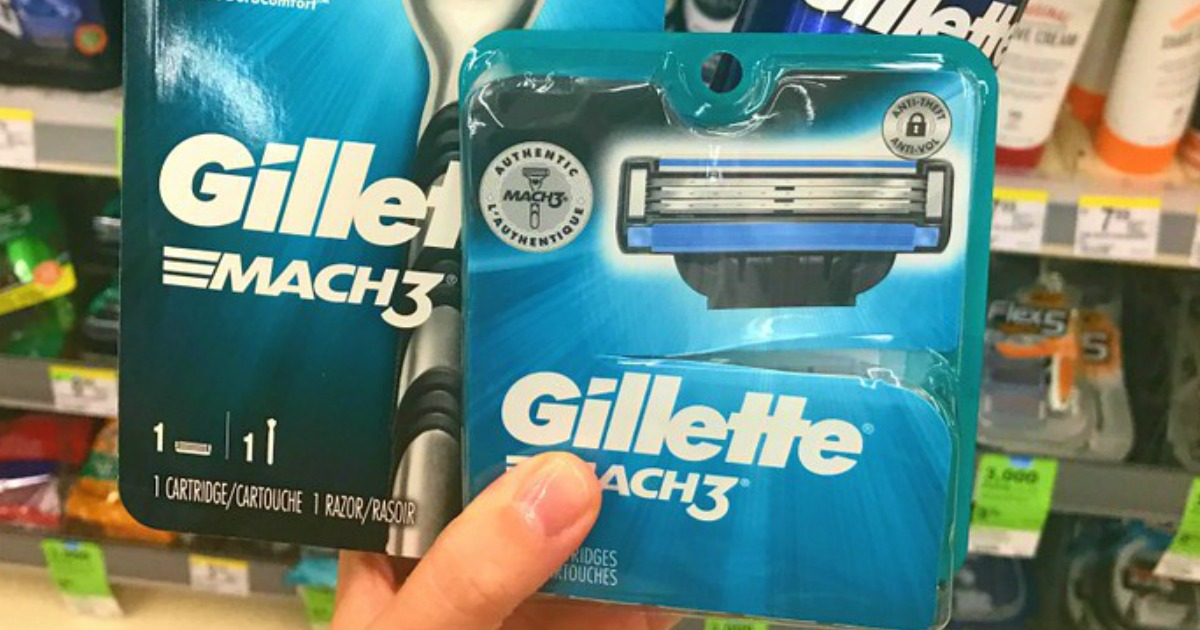 Gillette Mach3 Blade Refills being held by a woman's hand