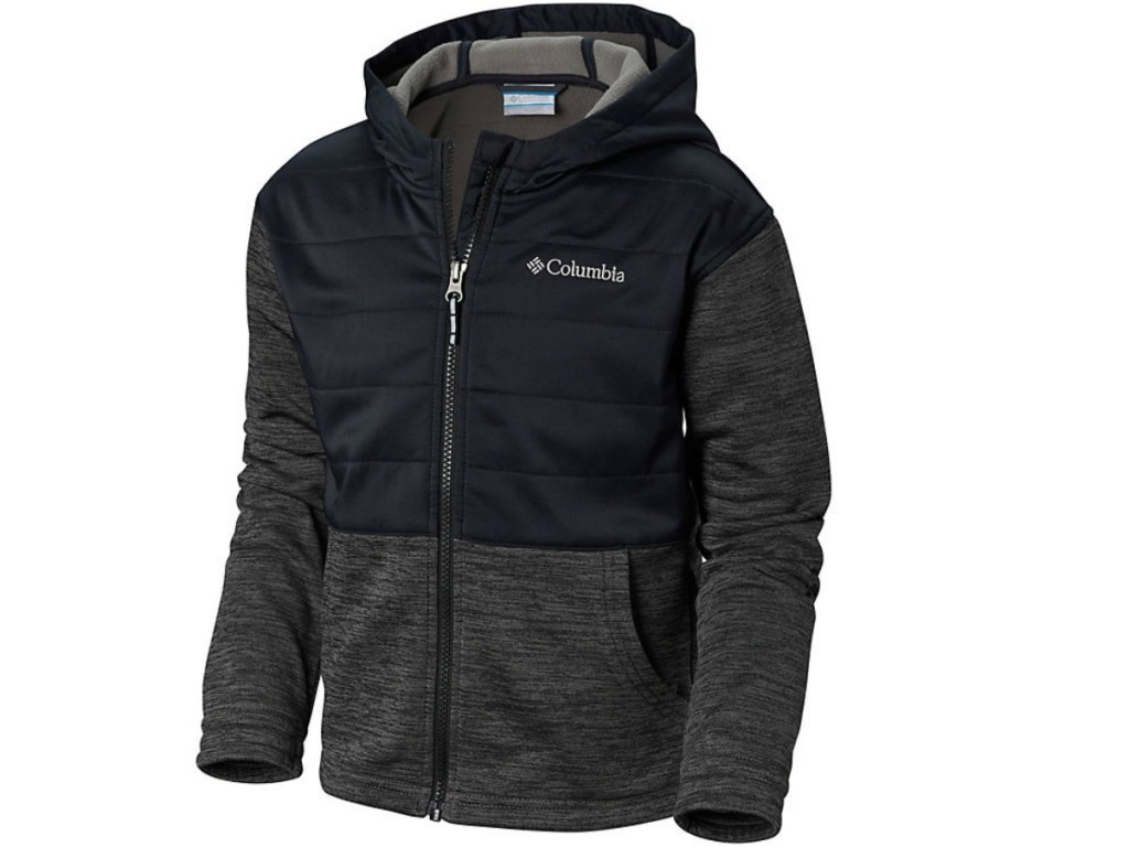black hoodie for kids with Columbia logo