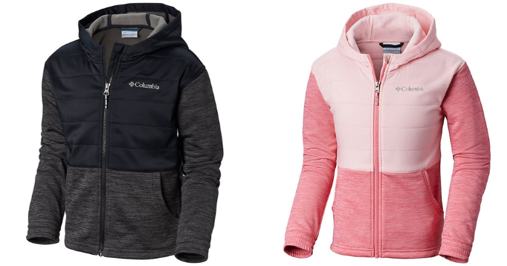 black and pink Columbia Girls Hayden Summit Hybrid Hoodie
