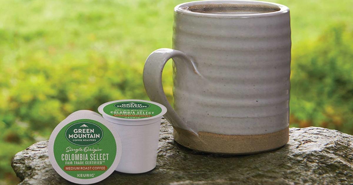 Green Mountain Coffee k-cups with coffee mug