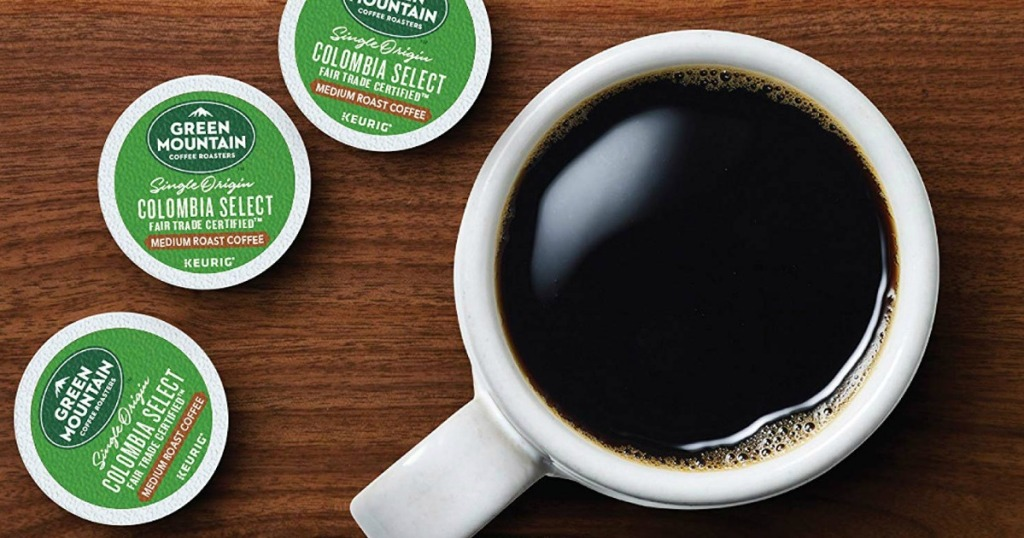 aerial view of green mountain k-cups next to a mug