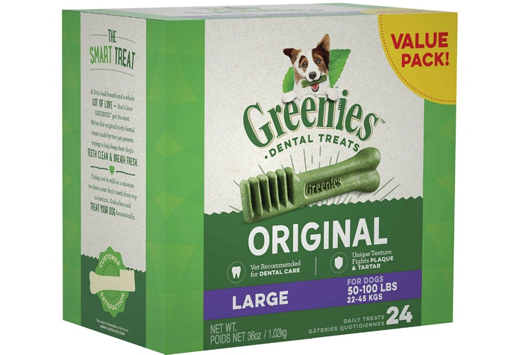 Greenies Original Large Natural Dental Dog Treats 36oz Box 24 Treats