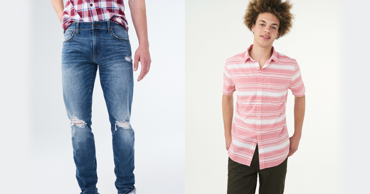 man wearing distressed jeans and man wearing striped shirt