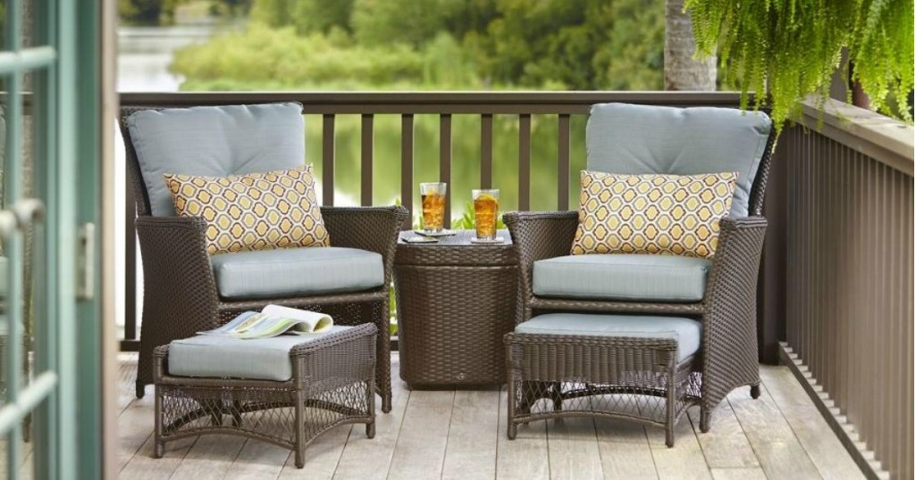 Wicker Patio Set with drinks on table