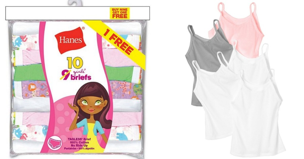 Hanes girls briefs and camis