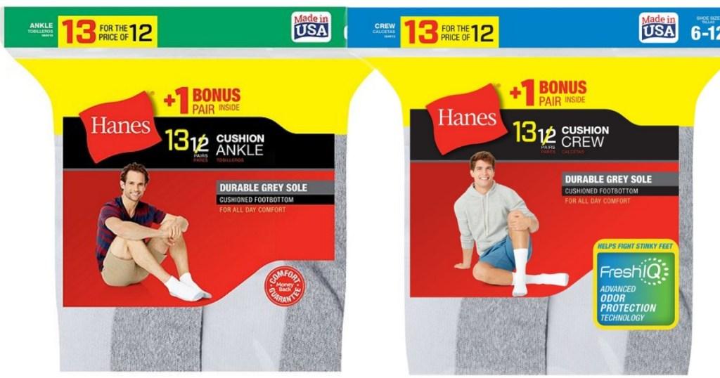 two packs of Hane's Men's socks