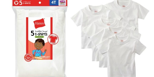 Hanes Toddler Boys T-Shirts 5-Pack Only $5 at Amazon (Just $1 Each)