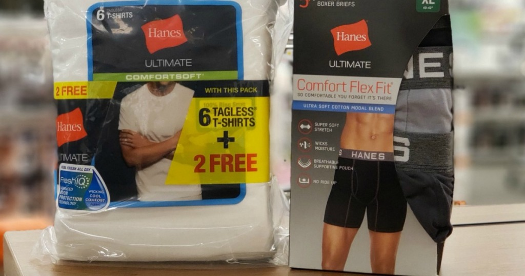 14549bb075f1 Hanes white tees in bonus pack displayed next to Hanes comfort flex boxer  briefs in gray