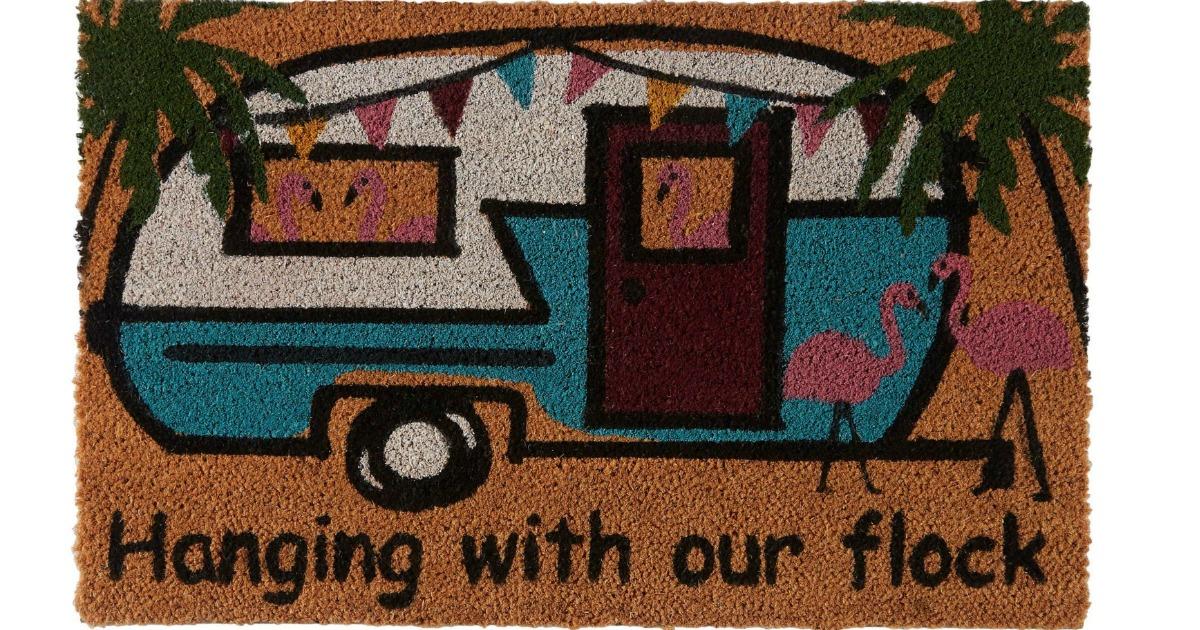 Vintage camper themed door mat