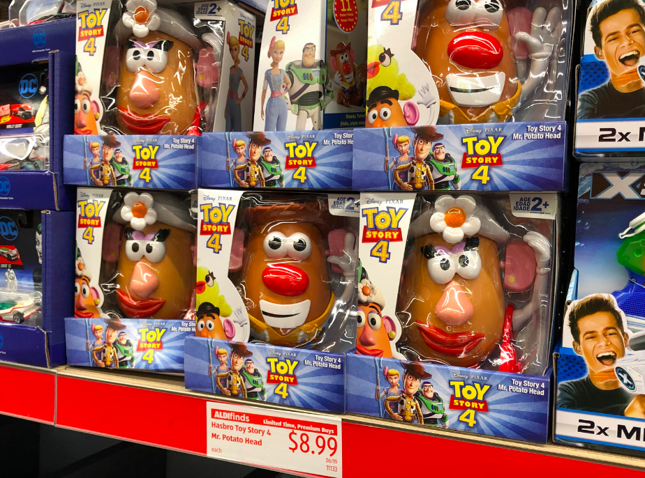 Store display of Hasbro Toy Story 4 Mr. Potato Heads at ALDI