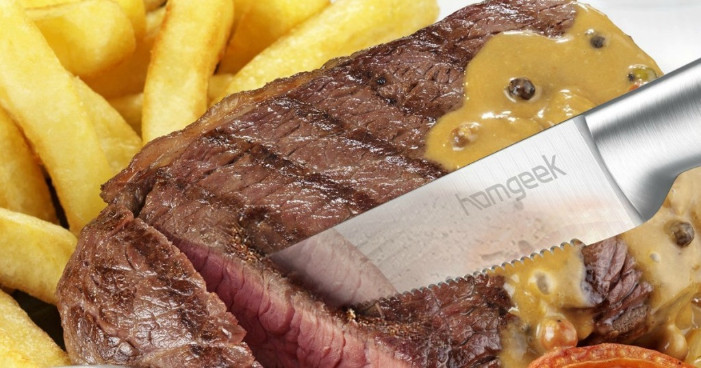 homgeek knife cutting steak with fries next to it