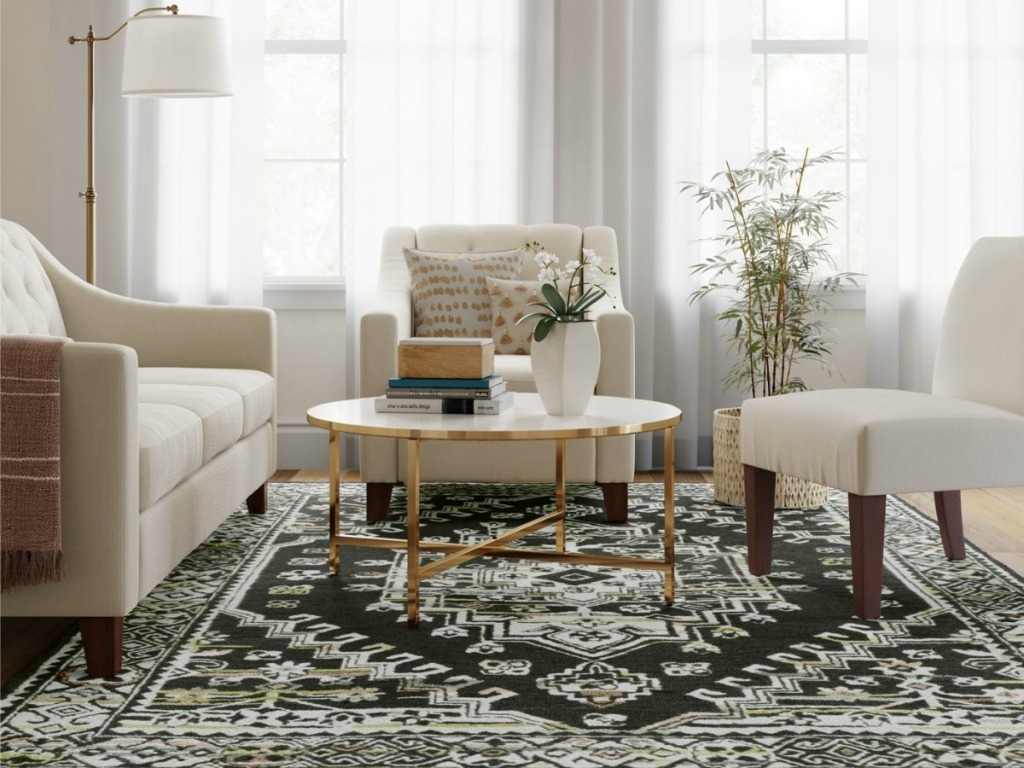hooked persian medallion rug in living room setting