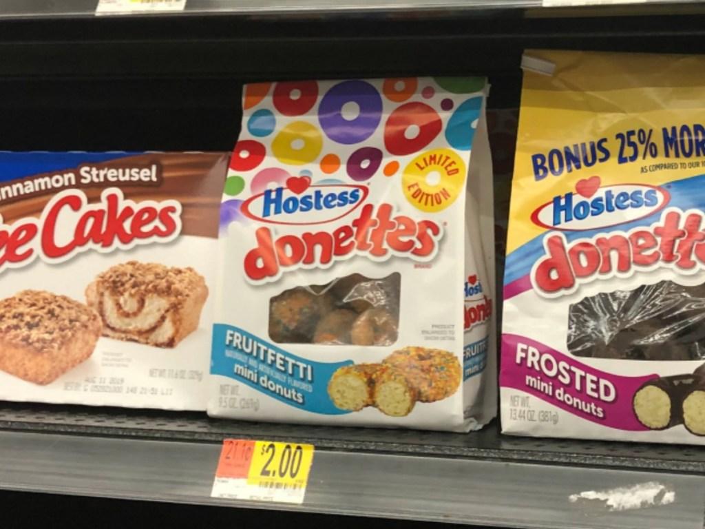 hostess fruitfetti donettes on shelf at Walmart