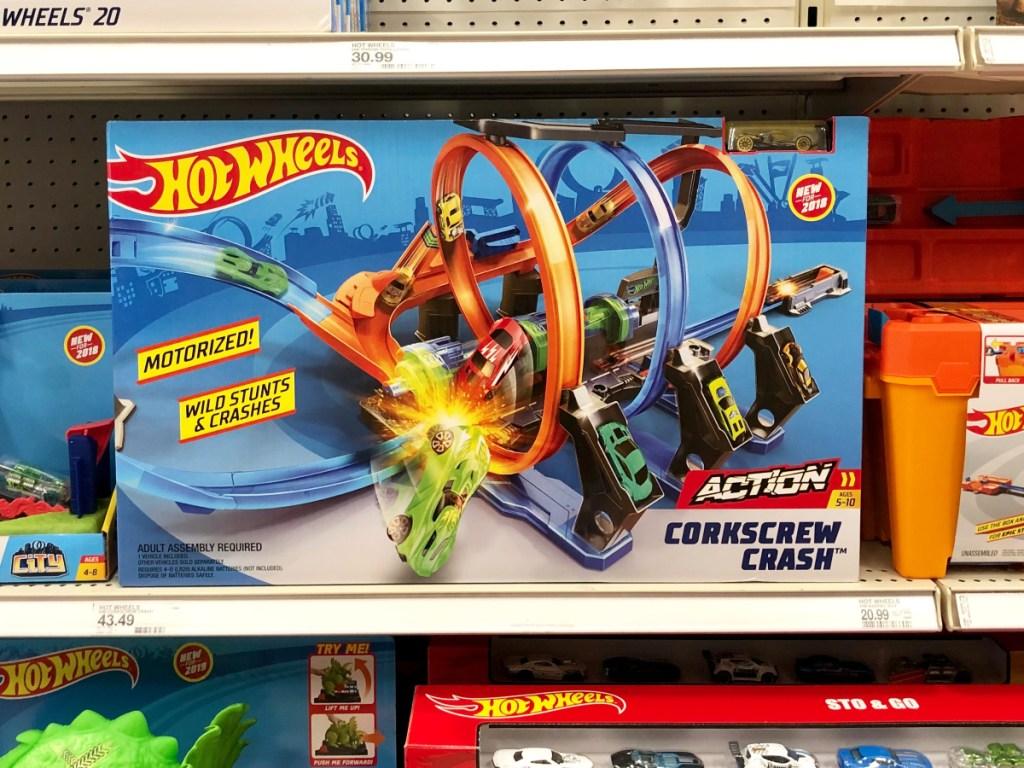 Hot Wheels Corkscrew Crash Trackset on shelf at Target