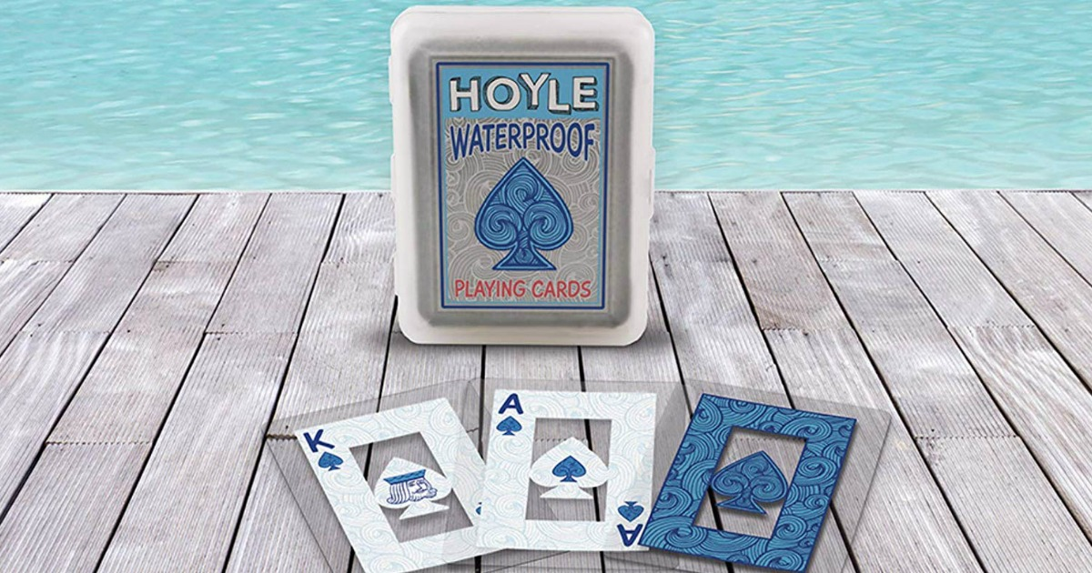 Hoyle Waterproof Playing Cards on deck by pool