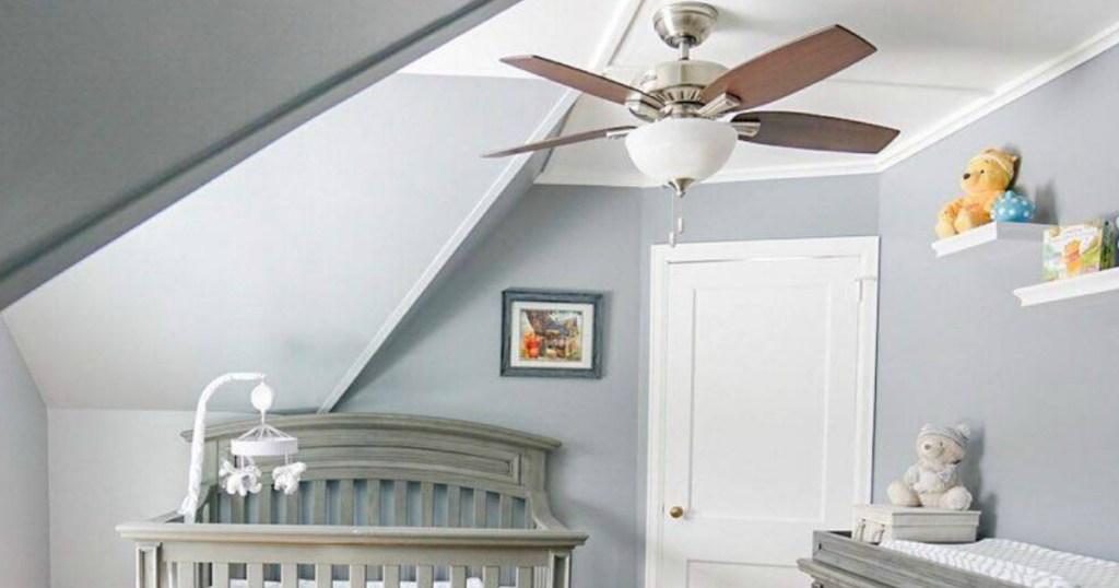 Small Ceiling Fan in Grey Baby nursery