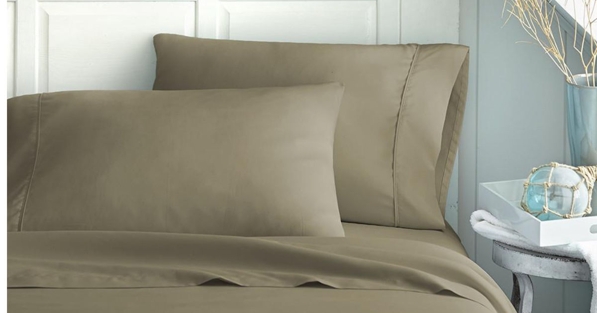 hutch & linen twin taupe solid 4 piece sheet set