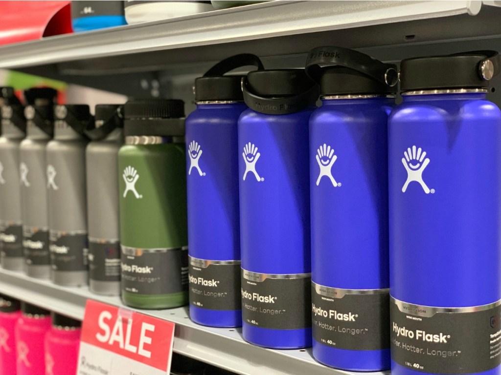 Hydro Flask 40oz tumblers arranged on shelf