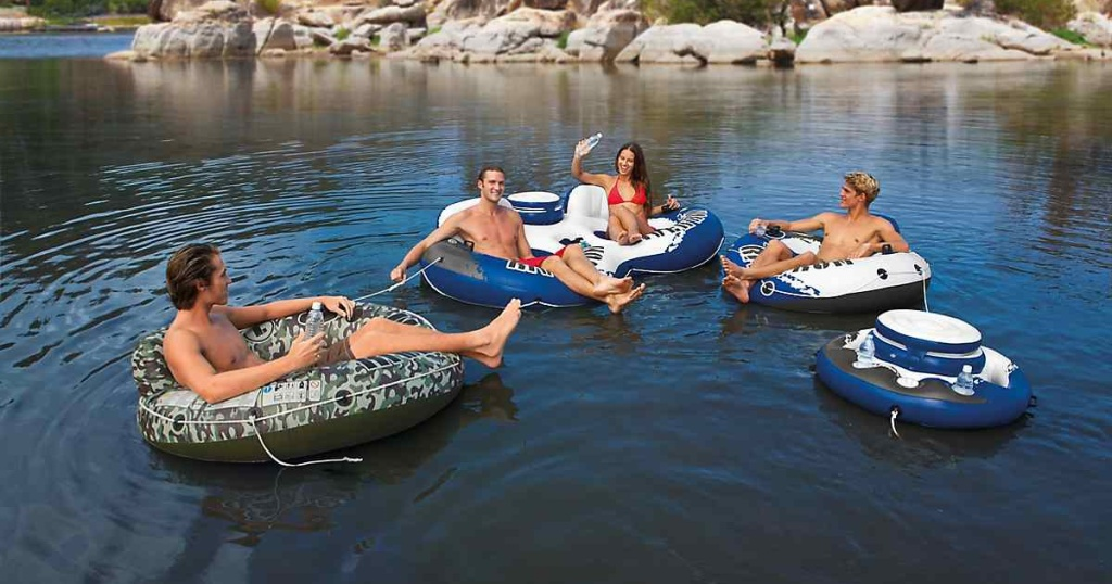 friends on intex inflatable river run tubes from academy sports in lake