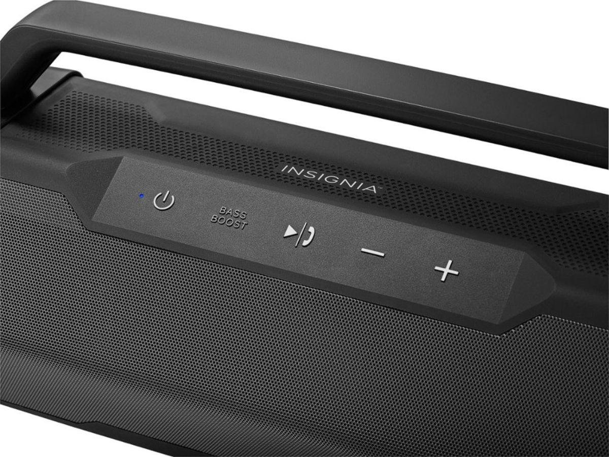 Insignia Waterproof Portable Bluetooth Speaker buttons and handle
