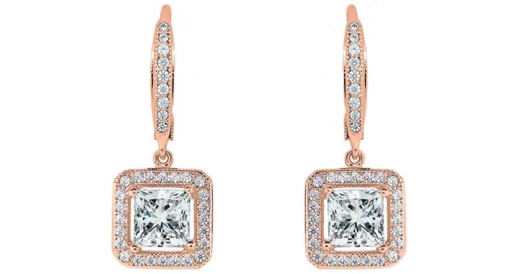cate & chloe 18k gold princess cut halo drop earrings