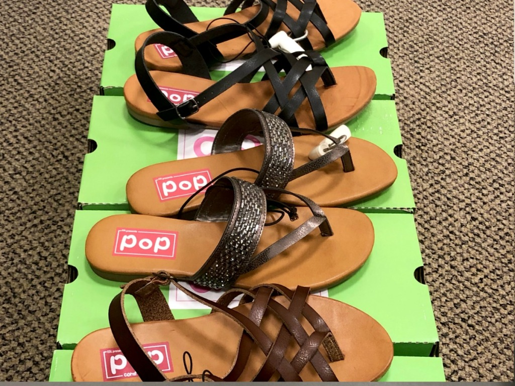 three pairs of sandals next to each other at JCPenney