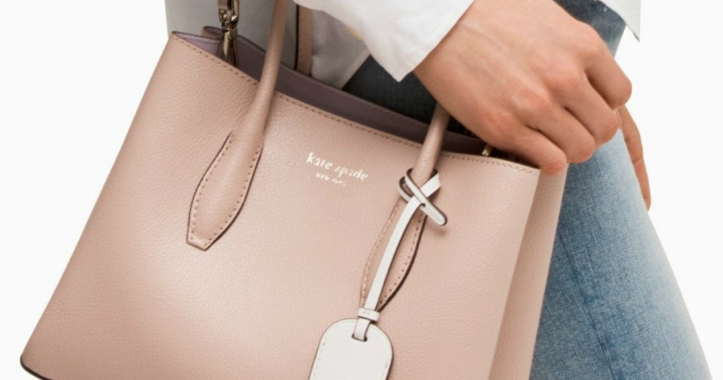 Kate Spade Eva Small Satchel being worn by a woman
