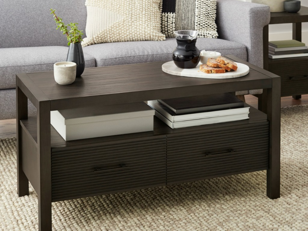 Kendara wooden coffee table with storage area in middle section