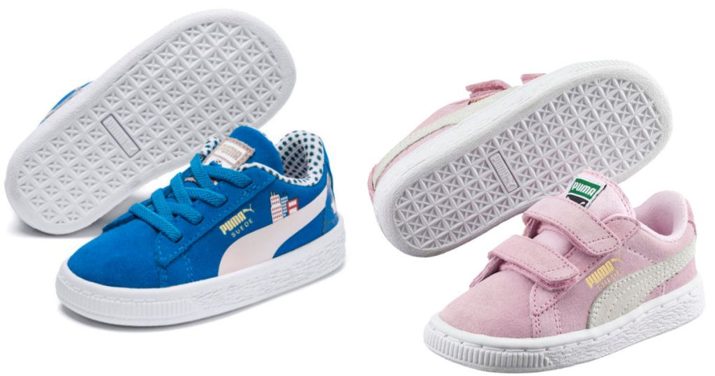 kids blue and pink puma shoes
