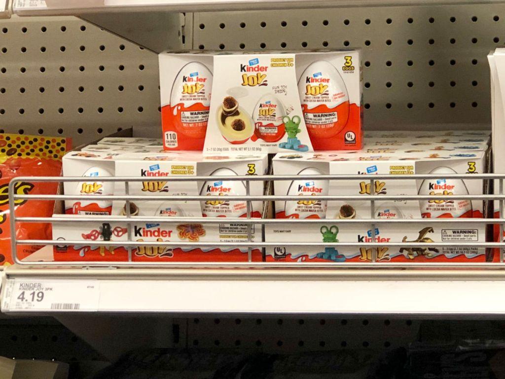 shelf display of Kinder Joy 3-Pack at target