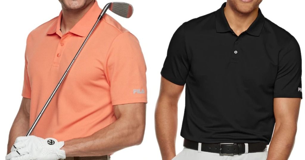 Man modeling orange polo shirt holding golf club next to man wearing black polo