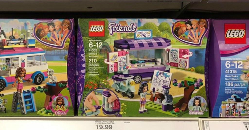 LEGO Friends building sets on a store shelf