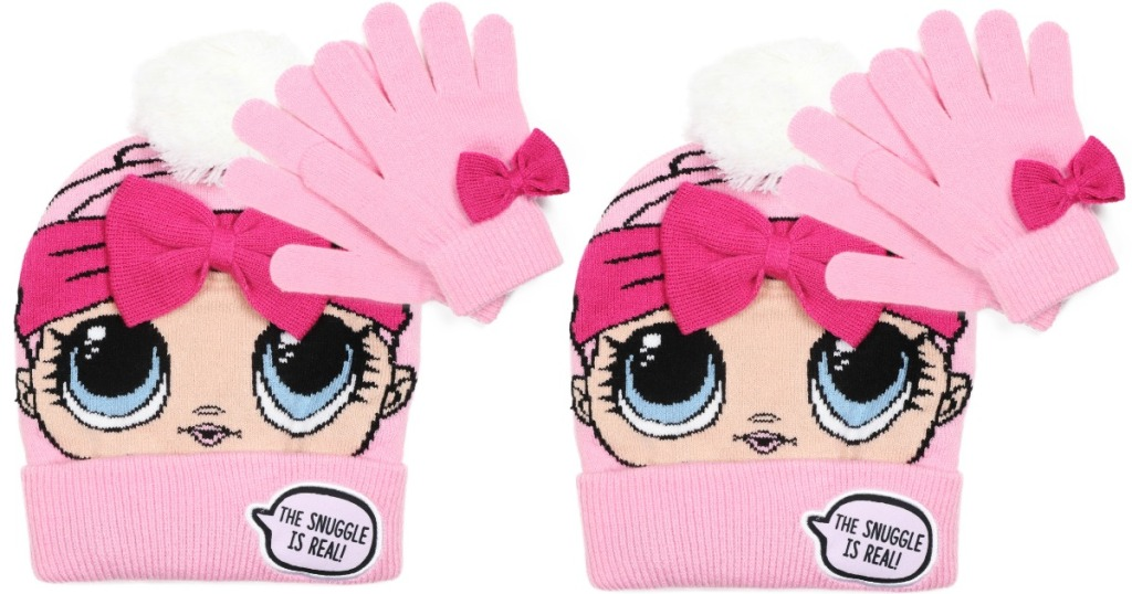 pink girls hat & glove set printed with an LOL Surprise doll