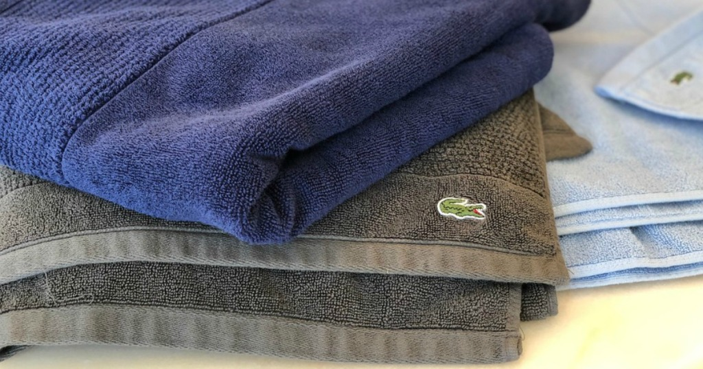 lacoste bath towels folded