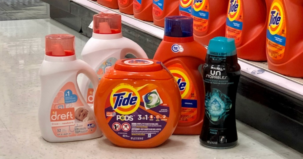 Tide Downy Dreft Laundry Products on laundry aisle floor at Target