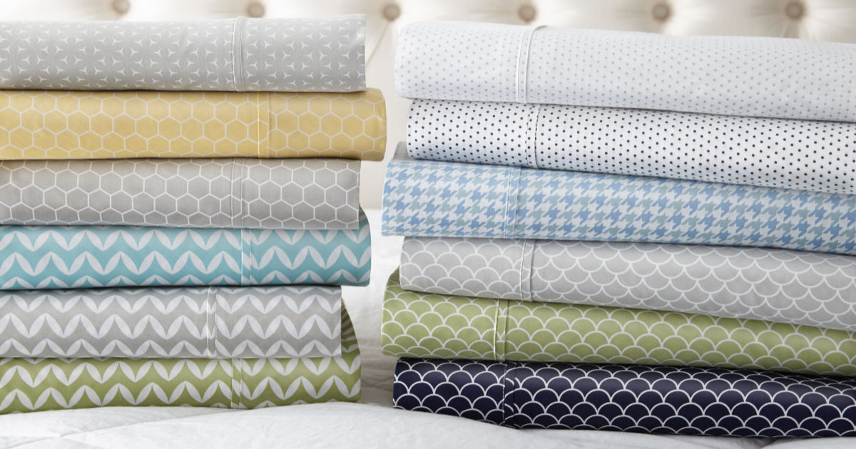 sets of patterned sheets in a variety of colors and designs