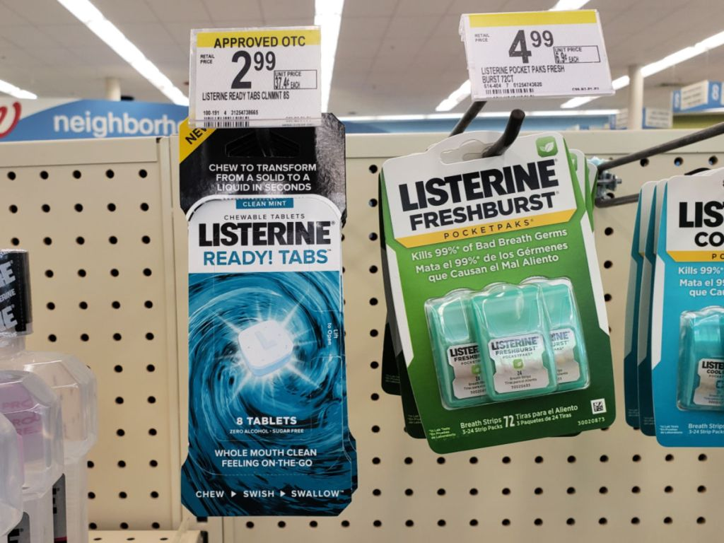 listerine ready! tabs on shelf in walgreens, with listerine freshburst pocketpacks