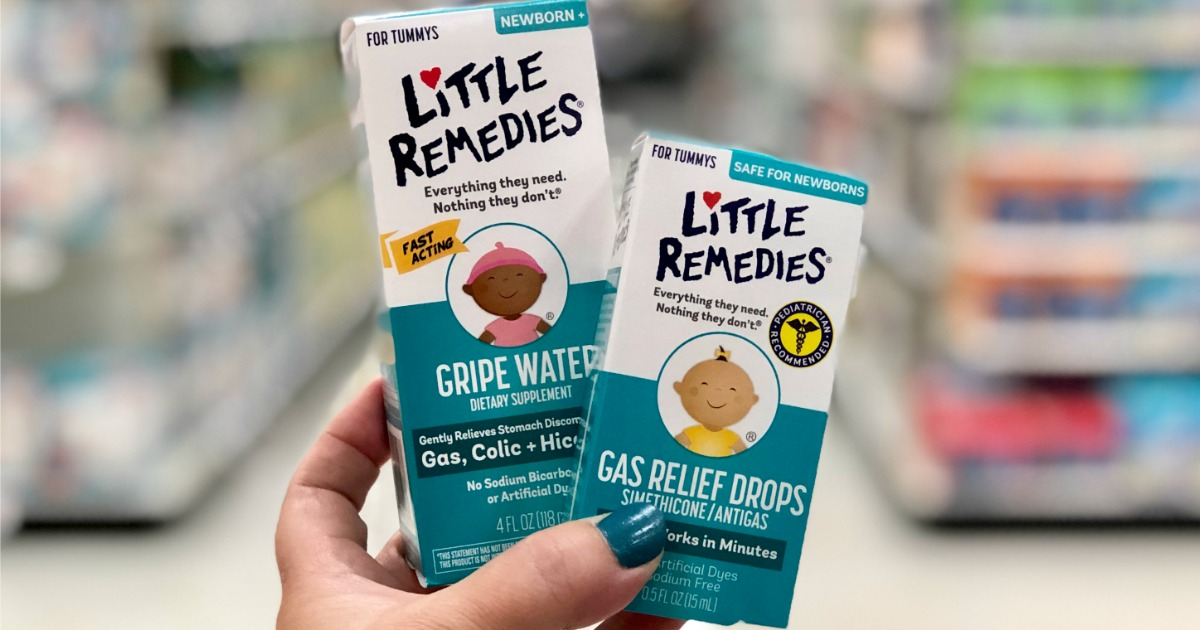 packages of Little Remedies Gripe Water & Gas Relief Drops being held in a store
