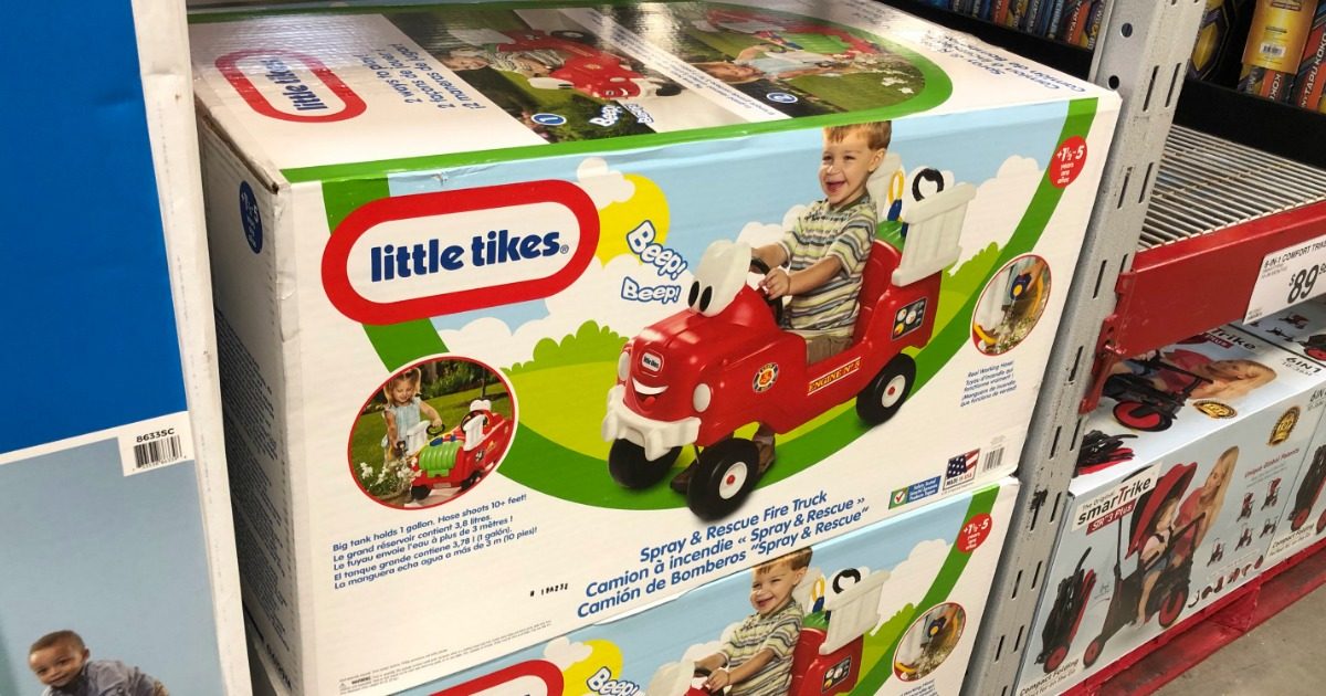 Little Tikes Spray & Rescue Fire Truck Foot to Floor Ride-On box at Sam's Club