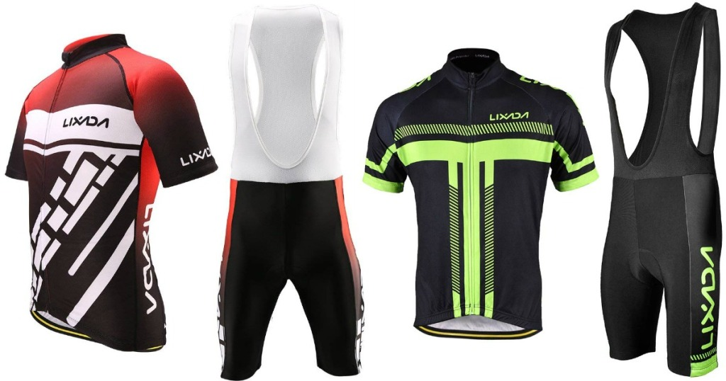 red and white and green and black cycling sets