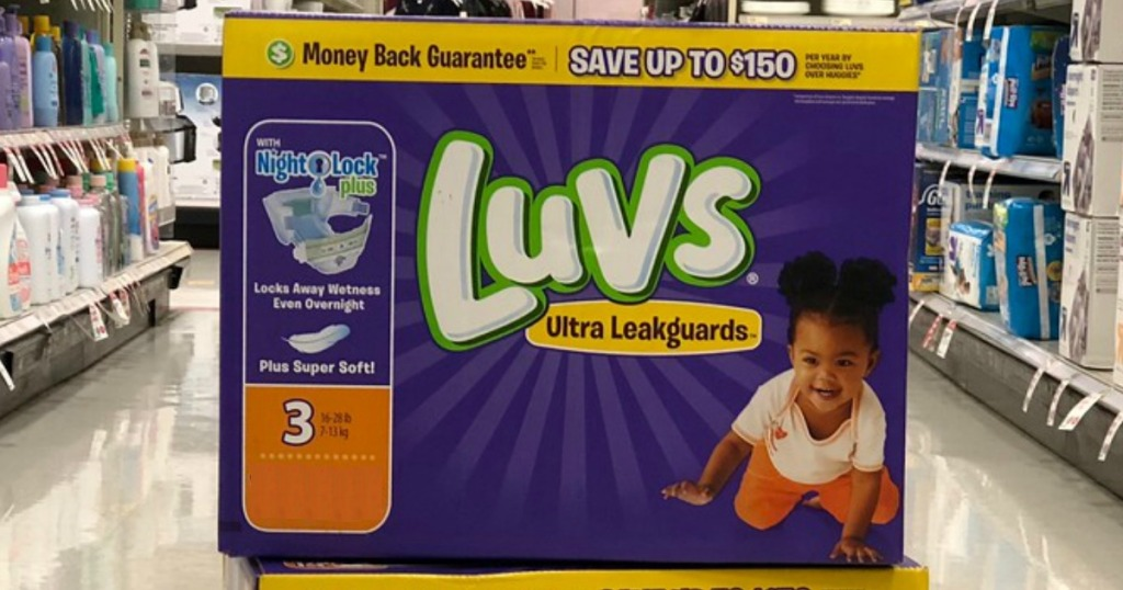 Luvs Diapers in a shopping aisle