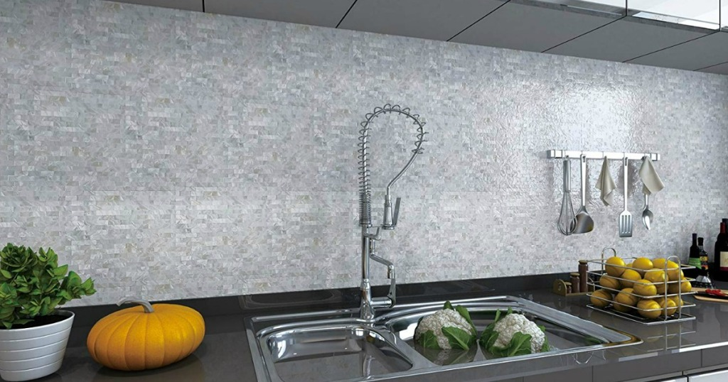Mother of pearl tiles in kitchen