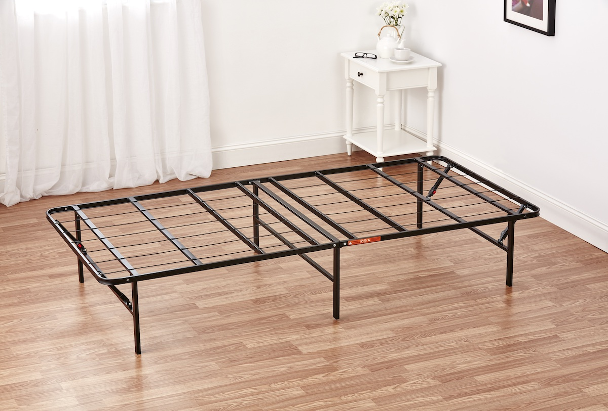 steel bed frame in bedroom