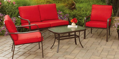Mainstays 4-Piece Cushioned Patio Set Under $200 Shipped + More Patio Furniture Deals
