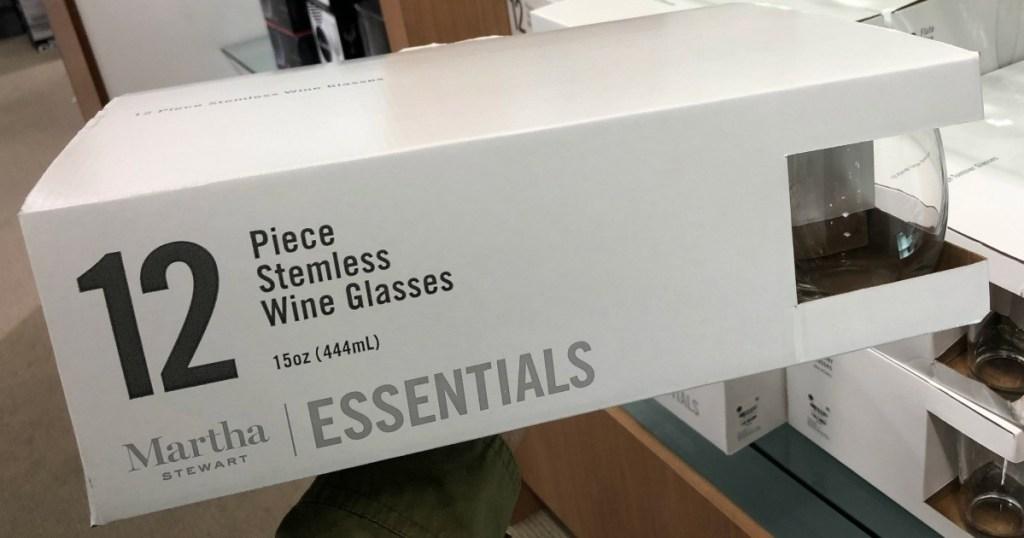 martha stewart 12 piece stemless wine glass set in box