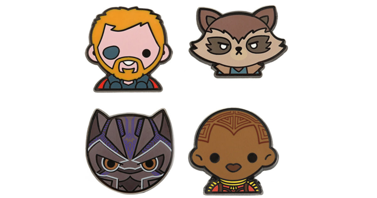 4 marvel character pins against a white background